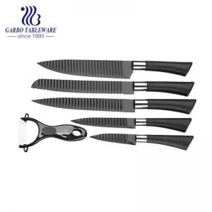 Color Box Packing 430 Stainless Steel Material Superior Quality 6PCS High-End Kitchen Knife Set With Black PP Handle