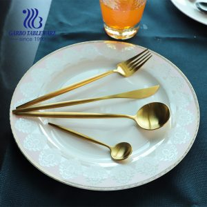 New arrival 4pcs sets gold plating stainless steel silverware set matte cutlery set