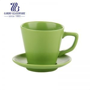 Green color glazed small coffee cup and saucer set