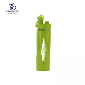 Easy-handle green color plastic water drinking bottle for excising and hiking