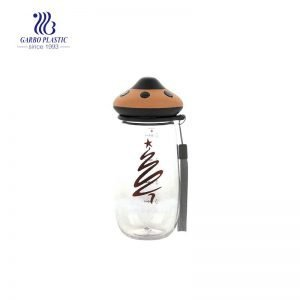 480ml mushroom design cute plastic water bottle with a cotton handle