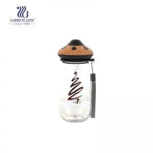 زجاجة ماء بلاستيكية لطيفة بتصميم فطر 480 مل بمقبض قطني