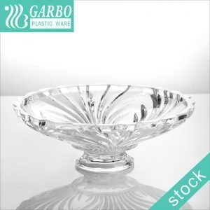 Big Clear Round Break Resistant Plastic Fruit Bowls with short Stem for Home and Outdoor Events