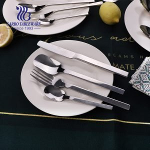 Square shape 16 pieces flatware set premium 430 stainless steel set perfect for restaurants