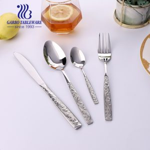 Russia popular silverware set mandarin flower design 18/0 stainless steel metal cutlery service for 4