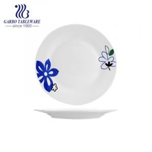 Wholesale custom cheap unique design stoneware dish 9inch flat ceramic plate