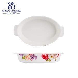 750ml oval shape printing new bone china pie baking tray with ears baking plate