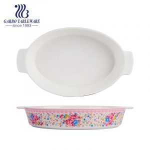 1700ml oval shape printing new bone china pie baking plate with ears