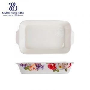 1300ml rectangle printing porcelain pie bake dish with ears