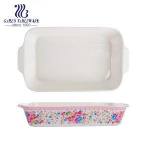 1800ml rectangle printing new bone china pie bake plate with ears