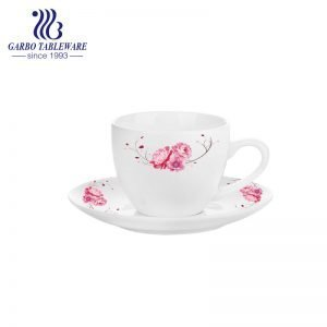 high white porcelain flower design espresso coffee cup and saucer set