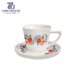 New bone china triangle handle cup and saucer set with decal design