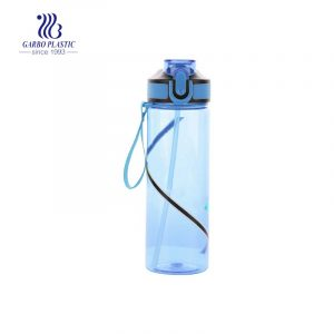 600ml 21oz portable blue plastic water drinking bottle for outdoor sports