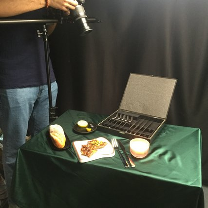 Garbo shoots behind the scenes of stainless steel cutlery