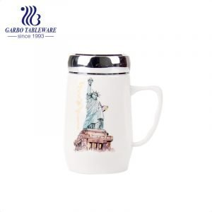 500ml Ceramic hot water drinking mug famous place printing deisgn pocelain cup with handle and meatal sealed lid portable bone china mug