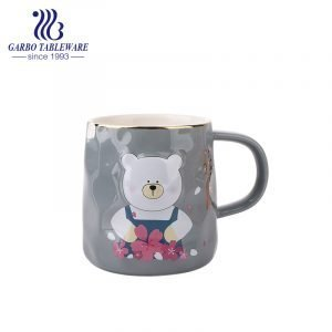 Cute bear printed design grey color ceramic mug porcelain children water cup with handle for gift bone china drink ware