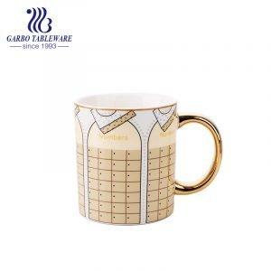 Full printing design porcelain cup with gold handle ceramic drinking mug bone china promotion gift mugs