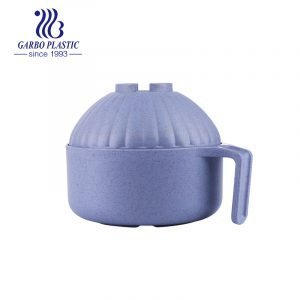 New wheat straw material light purple plastic lunch noodles round bowl with portable handle from China