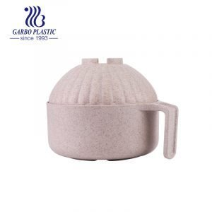 Wheat straw healthy gentle cream color plastic salad fruit bowl with a big round shape lid and easy holding handle from factory