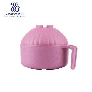 High-quality big capacity unbreakable plastic round salad mixing bowl with sweet pink color and round castle shape lid