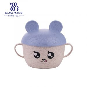 Non-toxic children use emotion plastic bowl with easy-holding two-side ear and baby purple cartoon lid