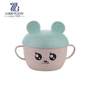 Wheat straw material eco-friendly plastic kids noddle bowl with light green beer shape lid and cute emotion