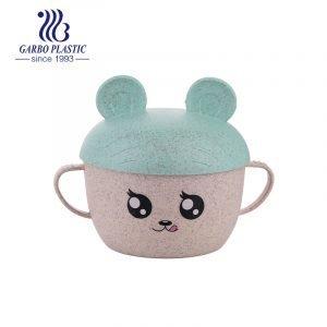 Material de paja de trigo tazón de plástico ecológico para niños con tapa de forma de cerveza verde claro y linda emoción