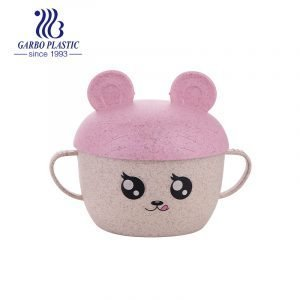 Eco-friendly wheat straw material plastic bowl with baby pink lid and portable two ears from factory