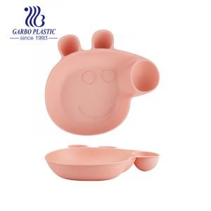 BPA Free Pink Pig Animal Kids Plates 8.5inch Lightweight Unbreakable Wheat Straw Serving Plates