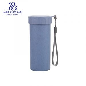 400ml purple colored eco-friendly plastic water drinking bottle with leak-proof lid and portable string