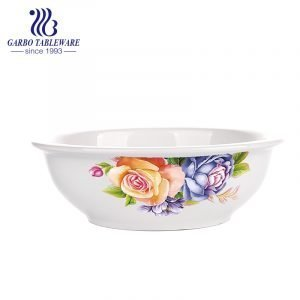 Wholesale 8 inch round shape ceramic bowl for family with decal