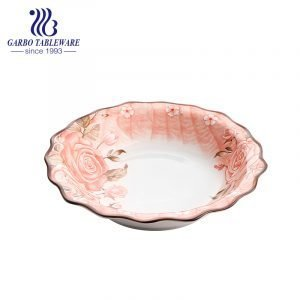 Underglaze color decorated ceramic big bowl with flower edge