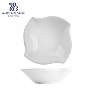 Hotsale 9 inch porcelain bowl with square shape for hotel