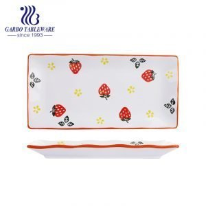 Wholesale cheap multifunctional strawberry painting sushi dessert dishes 13.5inch rectangle porcelain plate tableware