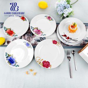China supplier round plain white hotel restaurant porcelain spaghetti pasta plate OEM design 9inch ceramic dinner dish plate