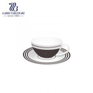 nuevo juego de taza y platillo de diseño de cuadros de porcelana de hueso