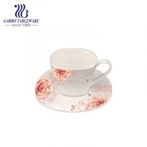 square shape flower design cup and saucer set for gift