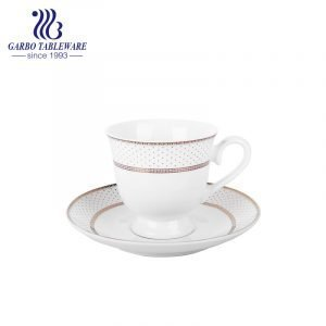 vintage English style white new bone china cup and saucer set