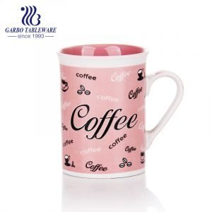 230ml art word printed ceramic drinking mug porcelain coffee cup with printing design pink color glaze Tumbler for trophy