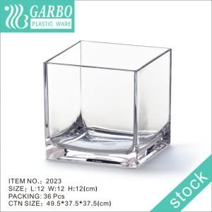 12cm square shape cube polycarbonate clear vase for wedding decoration