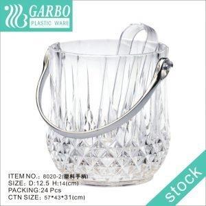 Wholesale classic diamond design unbreakable Acrylic ice bucket with ice tong