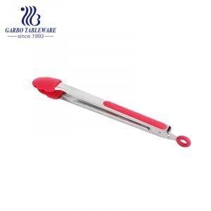 Pinzas para cocinar de cocina Pinzas para freír de metal de 12 pulgadas Pinzas para barbacoa de comida de cocina de silicona