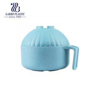 Baby blue wheat straw eco-friendly material plastic lunch noodle bowl with castle shape lid from China factory