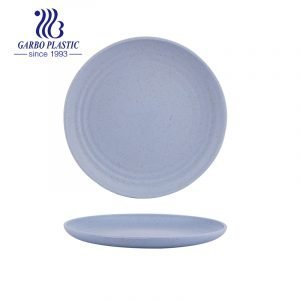 Blue BPA Free & Eco-Friendly 6 inch Wheat Straw Plastic Salad Plates in Multi Colors Stacking Reusable Serving Plates