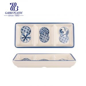 BAP free Durable Plastic 3-Section Serving Tray with Blue Flower Priniting Good for Home or Restaurant use