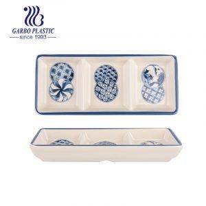 Bandeja de servir de 3 seções de plástico durável sem BAP com impressão de flor azul boa para uso doméstico ou em restaurante