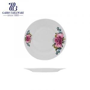 Wedding banquet serving OEM design tableware round 9 inch white flat ceramic dinner plates