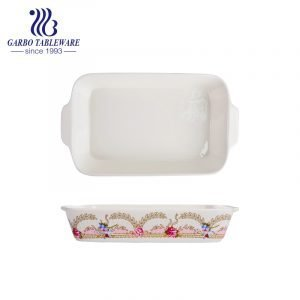 800ml rectangle printing porcelain bakeware plate with handle