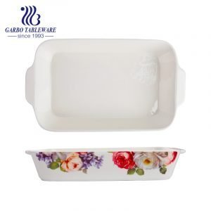 1800ml rectangle printing porcelain pie baking plate with handle