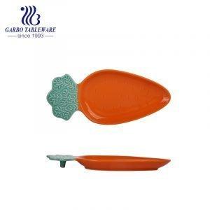 "13.5"" carrot shape orange color underglaze ceramic baking dish"